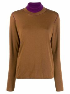 Salvatore Ferragamo contrasting neck jumper - Brown
