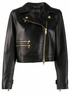 Versace off-centre zipped leather jacket - Black