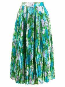 Richard Quinn floral accordion skirt - Blue