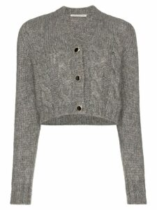Alessandra Rich jewel-button cropped cardigan - Grey