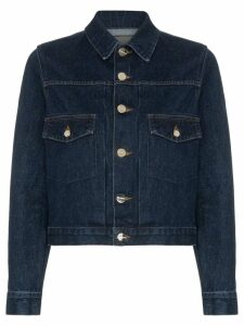 GOLDSIGN The Pleat cropped denim jacket - Blue