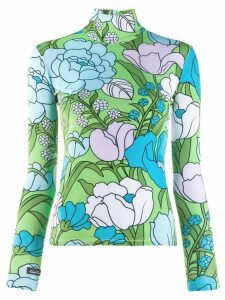 Richard Quinn floral turtleneck top - Blue
