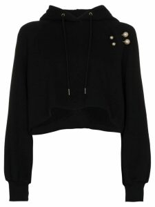 Blindness pearl appliqué cotton hoodie - Black