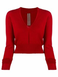 Rick Owens v-neck sweatshirt - Red