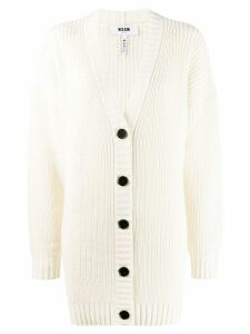 MSGM ribbed knit cardigan - White