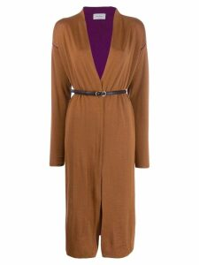 Salvatore Ferragamo long bicolor cardigan - Brown