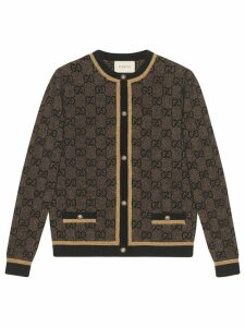 Gucci GG wool cardigan with lamé - Brown