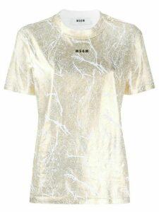 MSGM logo printed lamé T-shirt - GOLD