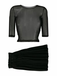 Mm6 Maison Margiela mesh cropped T-shirt - Black