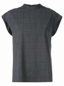 Tibi windowpane sleeveless top - Grey