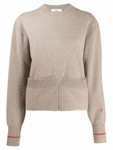 Victoria Beckham Mushroom sweatshirt with turn-up hem - Neutrals