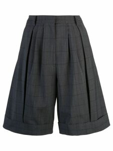 Tibi windowpane pleated shorts - Grey