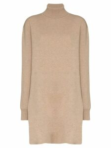 Jil Sander turtleneck long-line wool jumper - NEUTRALS
