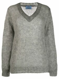Prada mohair V-neck cable knit top - Grey
