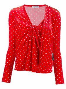 Balenciaga Twinset polka dot velvet top - Red