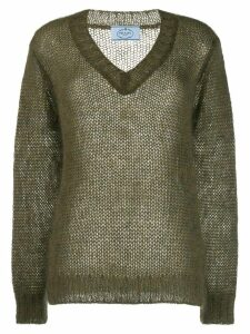 Prada mohair V-neck cable knit top - Green