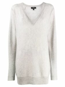 Theory long v-neck jumper - Grey
