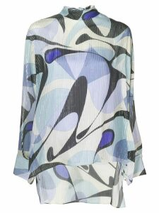 Emilio Pucci Alex Print Tie-Neck Silk Blouse - Blue