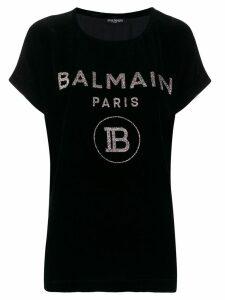 Balmain glitter logo velvet T-shirt - Black