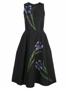 Carolina Herrera floral embroidery silk dress - Black