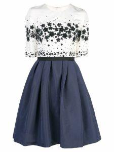 Carolina Herrera sequined flared silk dress - Blue