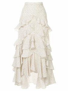 Acler Wickham frill asymmetric skirt - White