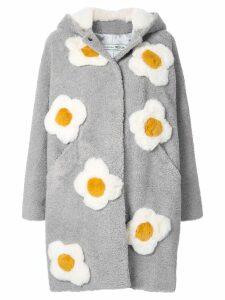 Tu es mon TRÉSOR Flower foux fur midi coat - Grey
