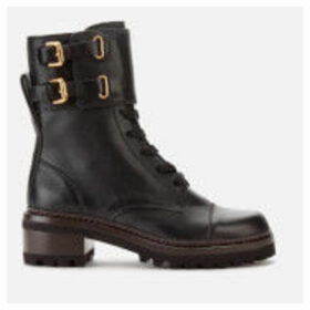 See By Chloé Women's Leather Lace Up Military Boots - Nero - UK 7