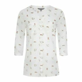 Button Through Book Shelf Print Voile Blouse