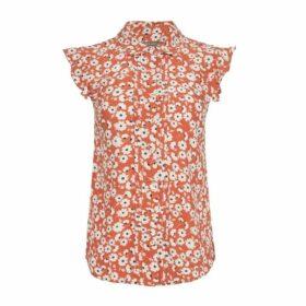 Orange Floral Pintuck Blouse