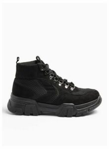 Womens Tyler Black Hiker Lace Up High Top Trainers, BLACK