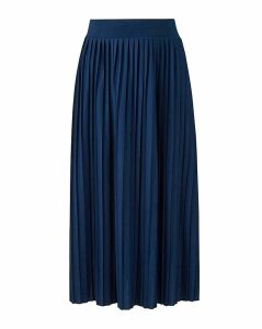 Pleat Stretch Jersey Midi Skirt