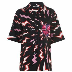 Prada Short Sleeve Printed Poplin Shirt