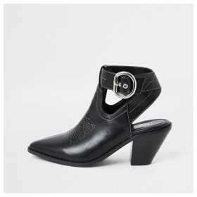 River Island Womens Black western cut out shoe boots