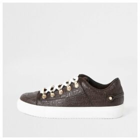 River Island Womens Brown RI embossed lace-up trainers