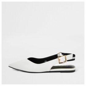 River Island Womens White pointed toe sling back flat shoe