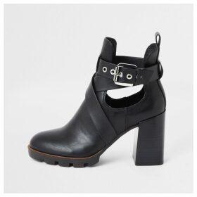 River Island Womens Black strappy cutout block heel boots