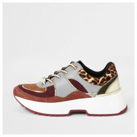 River Island Womens Red leopard print lace-up runner trainers