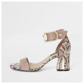 River Island Womens Pink snake print block heel sandals