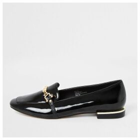 River Island Womens Black patent snaffle chain ballet shoes