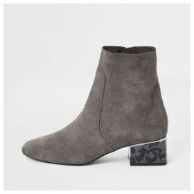 River Island Womens Grey printed bock heel boots