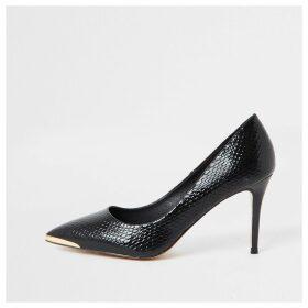 River Island Womens Black point toe croc mid heel court shoes