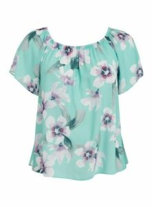 Mint Green Floral Print Bardot Top, Mint
