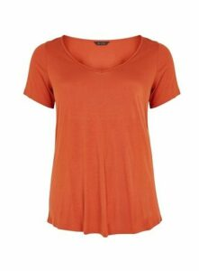Rust V-Neck Short Sleeve T-Shirt, Rust