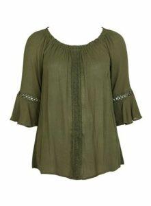 Khaki Lace Detail Top, Khaki