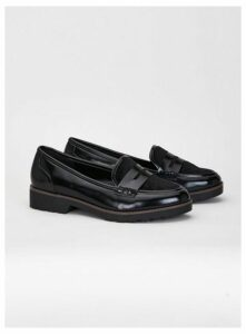Extra Wide Fit Black Patent Loafers, Black