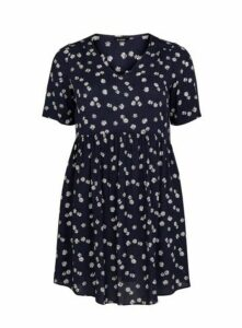 Navy Blue Floral Print Tunic Top, Navy