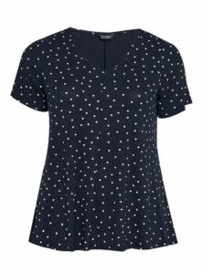 Navy Blue Polka Dot V-Neck T-Shirt, Navy