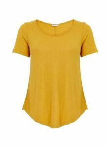 Ochre Scoop Neck T-Shirt, Yellow