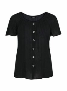 Black Button Front Detail Gypsy Top, Black
